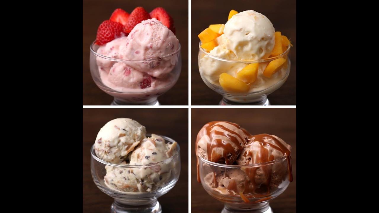 Receita de sorvete, para preparar de quatro formas diferentes
