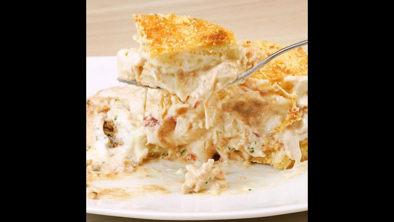 Receita de torta de frango com creme de requeijão