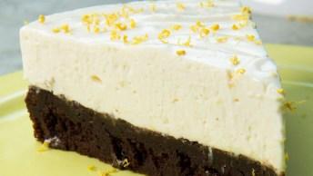 Receita De Torta Gelada De Brownie De Limão, Uma Delicia De Sobremesa!