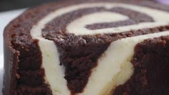 Rocambole De Bolo De Chocolate, Isso Deve Ficar Uma Delicia!