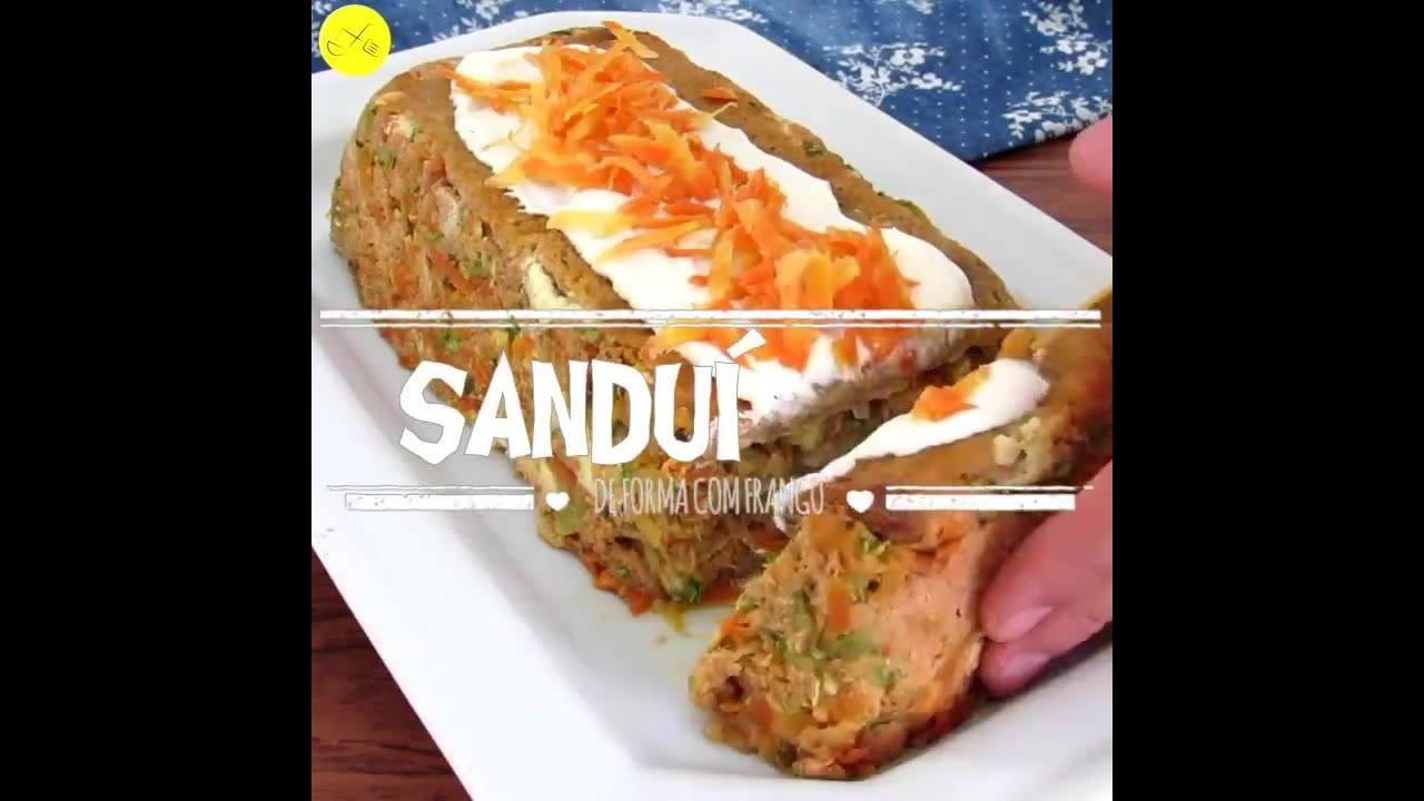 Sanduíchão de forma com frango, uma receita muito saborosa!