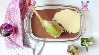 Sobremesa De Coco Com Chocolate Na Travessa, Uma Sobremesa Maravilhosa!