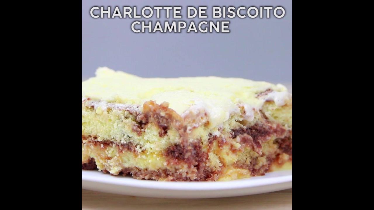 Sobremesa feita com bolacha Champagne