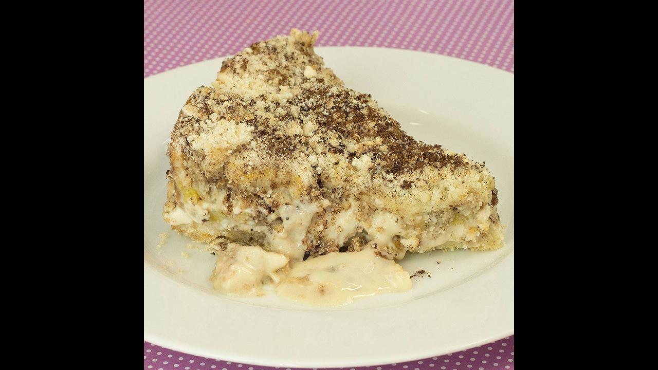 Torta de Farofa de banana com Creme de Leite Condensado