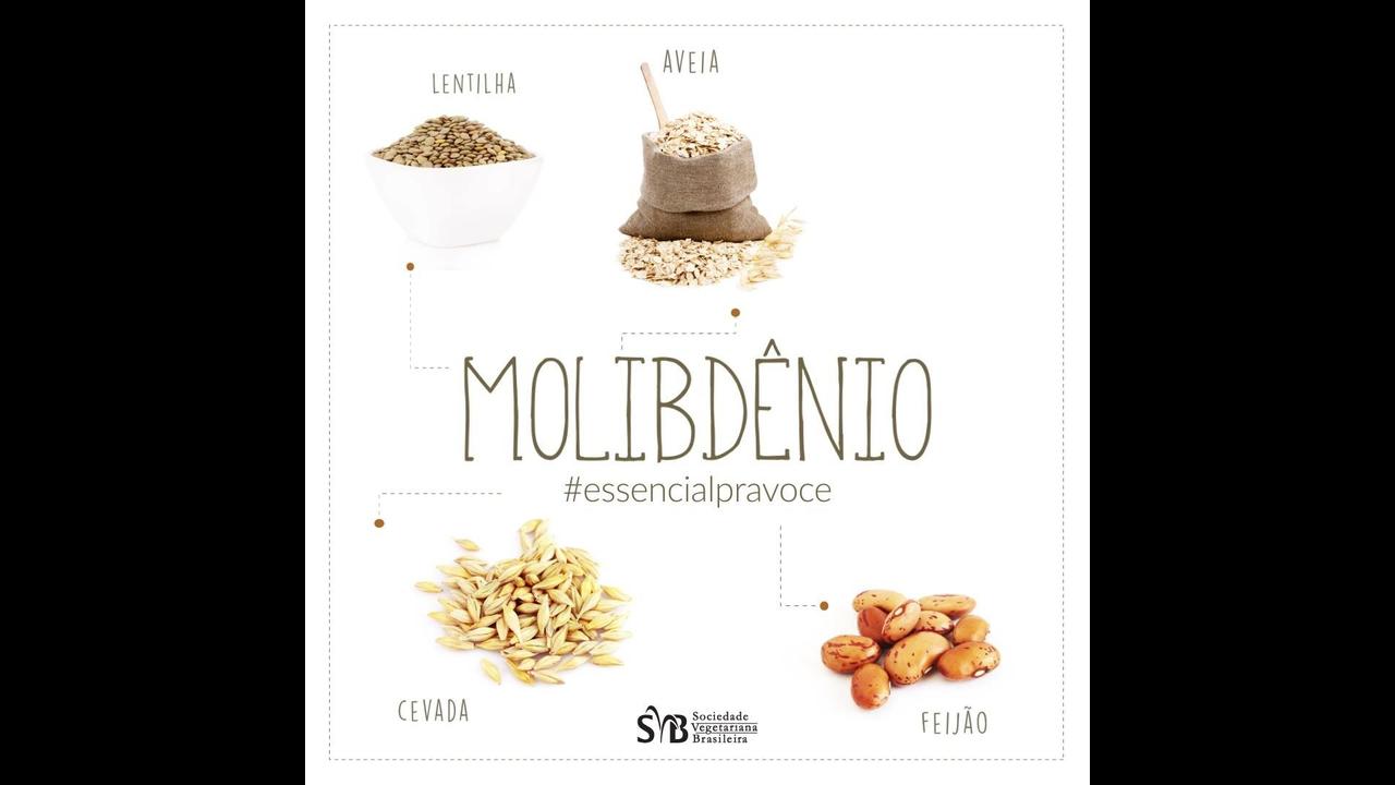 Vídeo com alimentos que contem o molibdênio