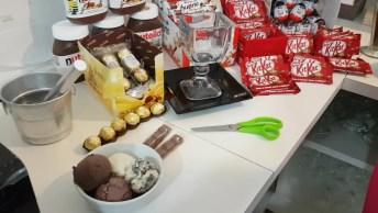 Vídeo Mostrando Preparação De Uma Taça De Sorvete Com Nutella E Tudo Mais!