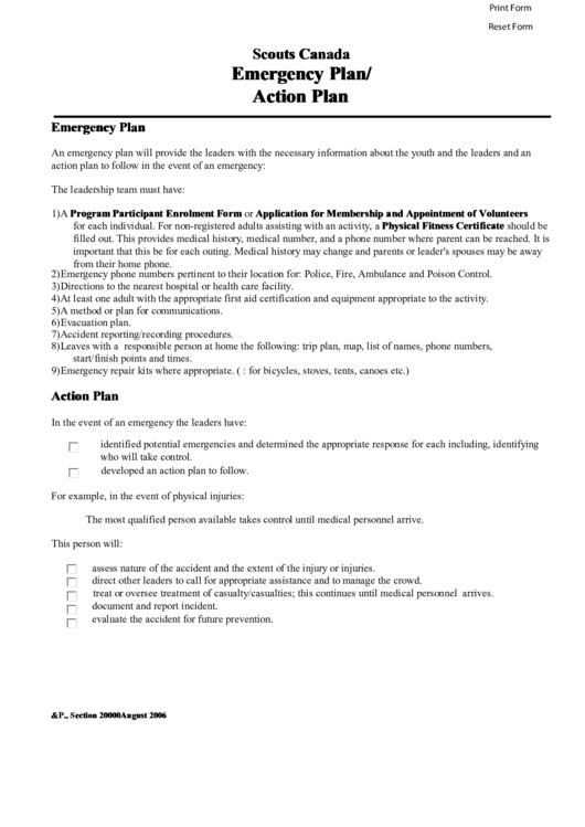 Scouts Canada Emergency Plan Action Plan Printable Pdf Download
