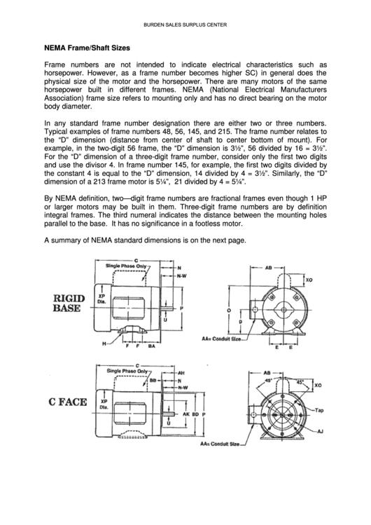 Motor Frame Size Chart Pdf | Frameswall.co