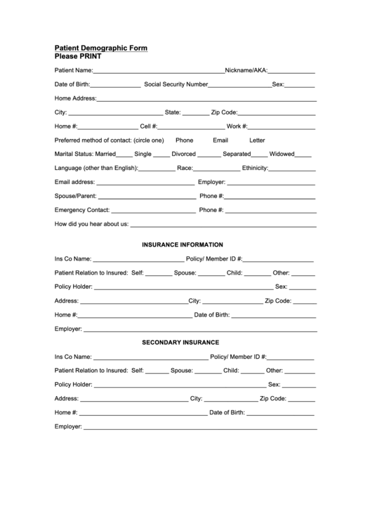 Patient Demographic Form Printable Pdf Download