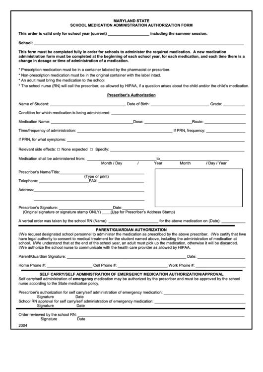 School Medication Administration Form 2004 Printable Pdf Download