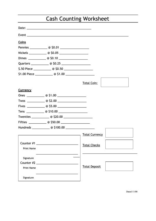 Cash Counting Worksheet Printable Download