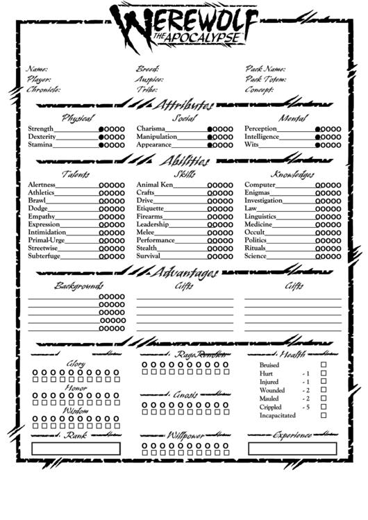 Five Forms Werewolf Character Sheet