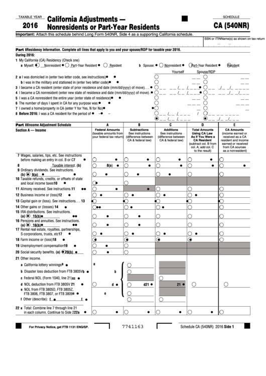 Ca 540 Printable Form 2016