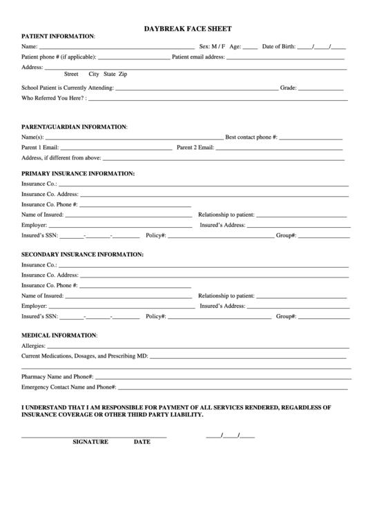 Template Face Demographic Hospital Sheet