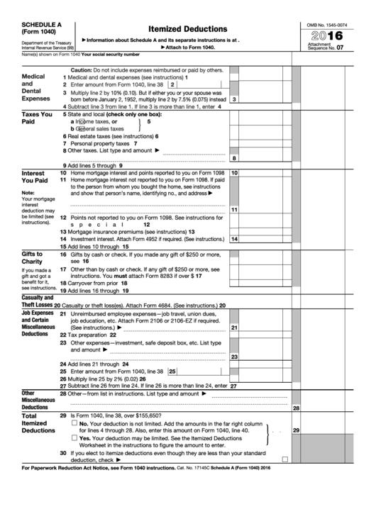 Schedule A Form