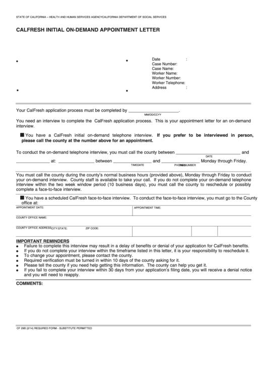 Form Cf 31 Calfresh