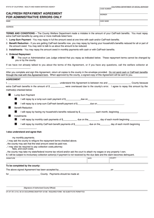 Form Cf Calfresh 37