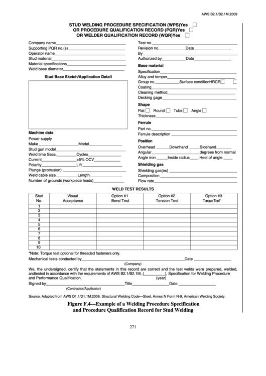 Fillable Stud Welding Procedure Specification Wps Form