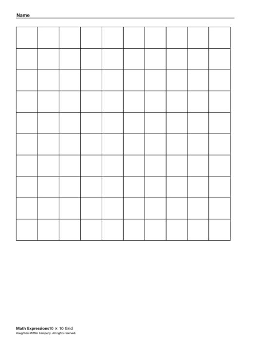 10 10 Printable Graph X
