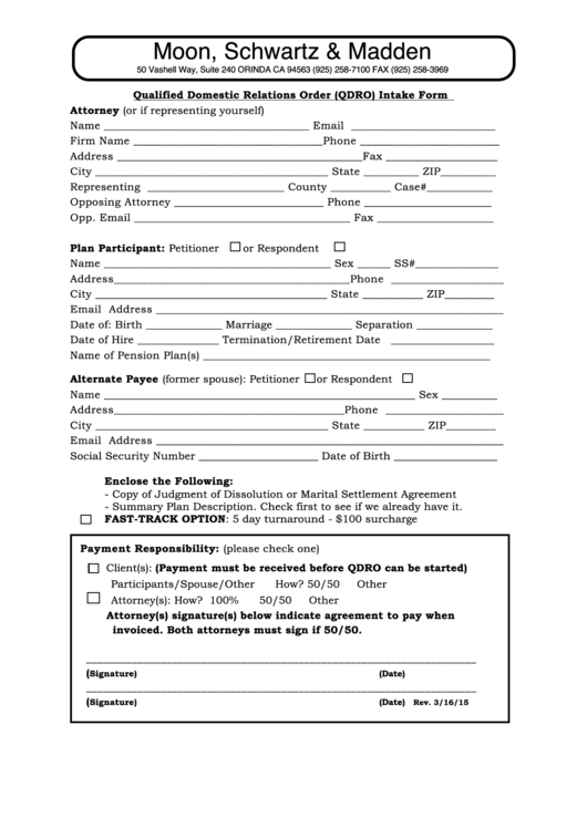 Fillable Qualified Domestic Relations Order (Qdro) Intake Form printable pdf download