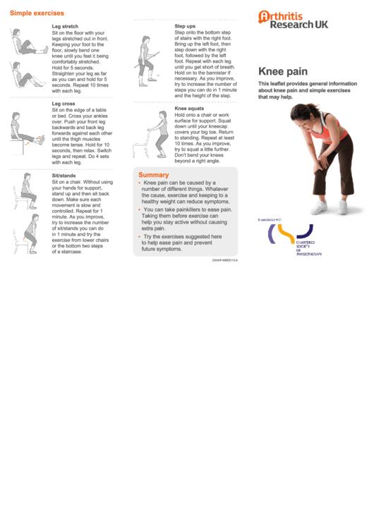 Pain Location Knee Chart