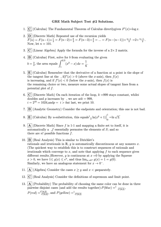 Gre Math Subject Worksheet Printable Download