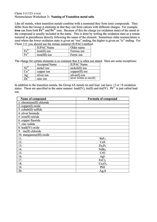 Naming Of Transition Metal Salts Worksheet Printable
