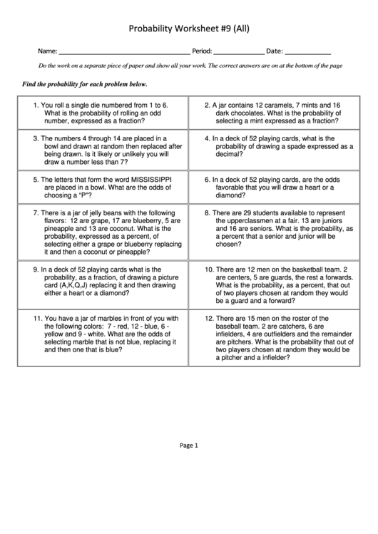 Probability Worksheet With Answers Printable Download