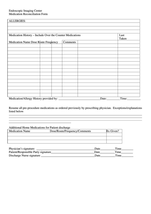 Endoscopic Imaging Center Medication Reconciliation Form
