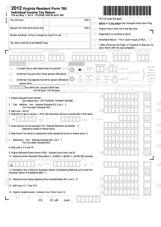 Fillable Virginia Resident Form 760