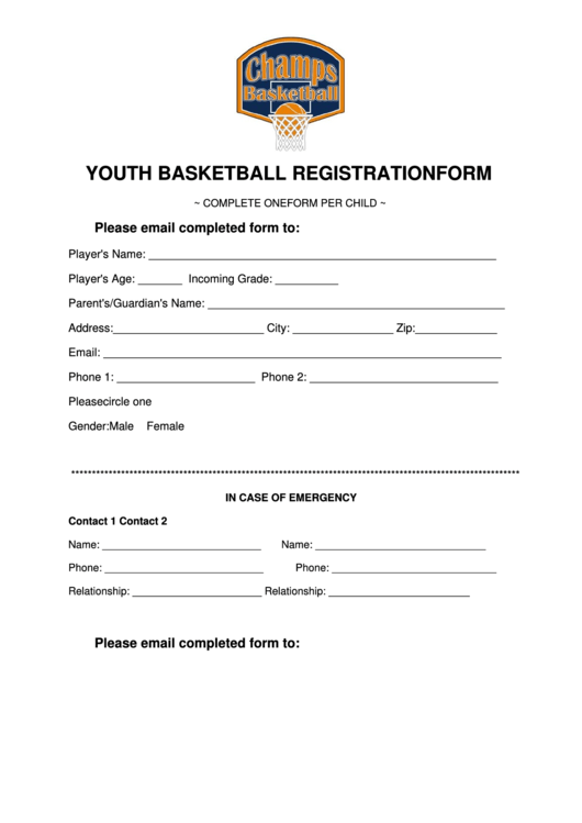 Youth Basketball Registration Form Printable Pdf Download