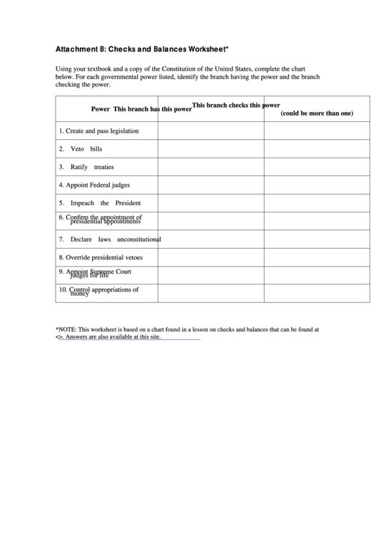 Attachment B Checks And Balances Worksheet Printable