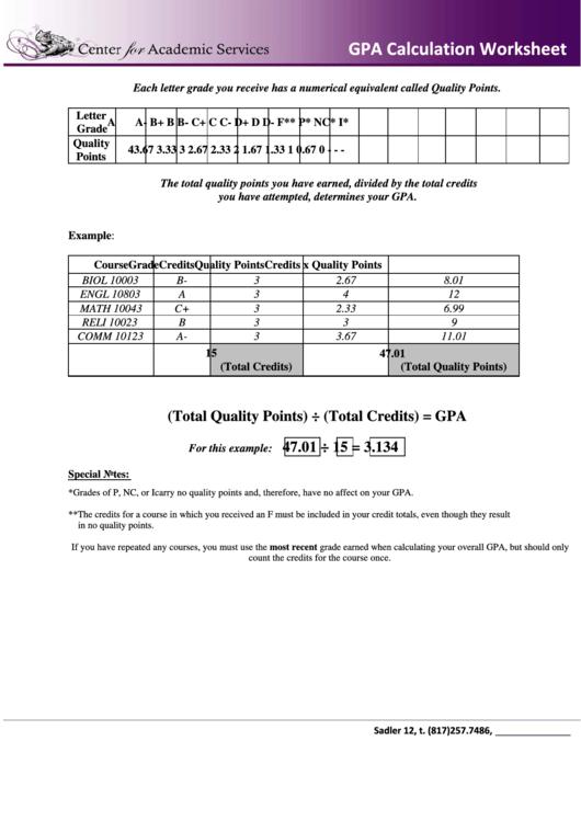 Gpa Calculation Worksheet Printable Download