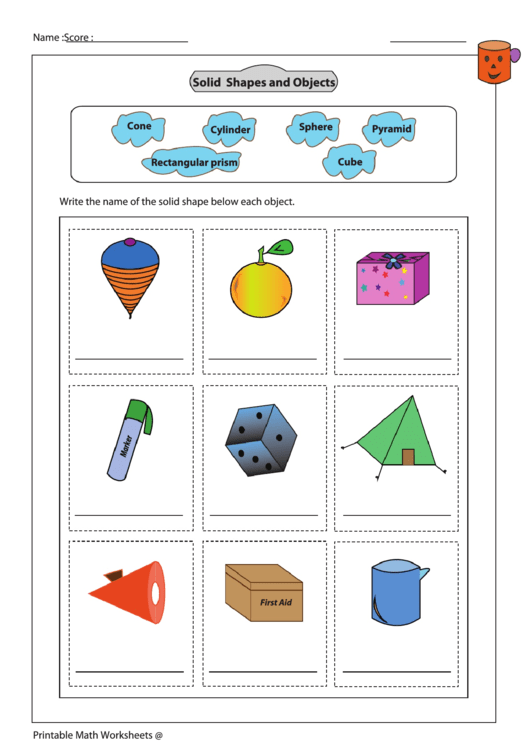 Solid Shapes And Objects Worksheet Printable Download