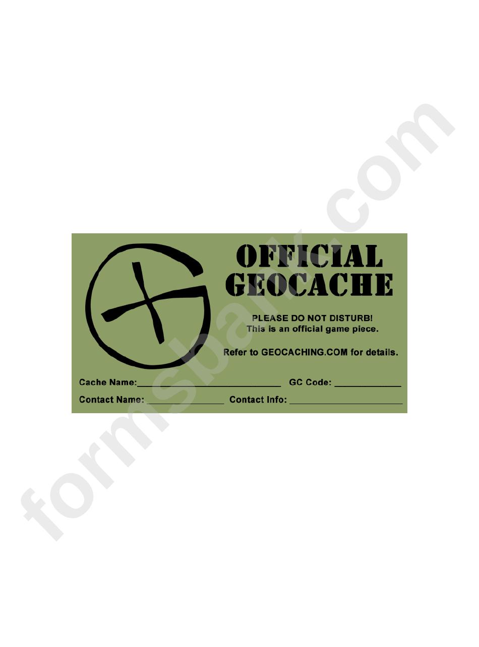 Label Templates Official Geocache Printable Pdf Download
