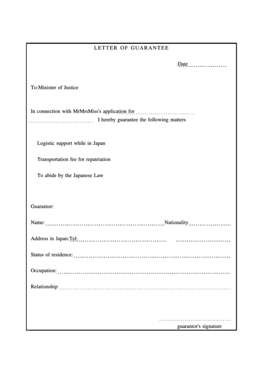 Letter Of Guarantee Printable Pdf Download