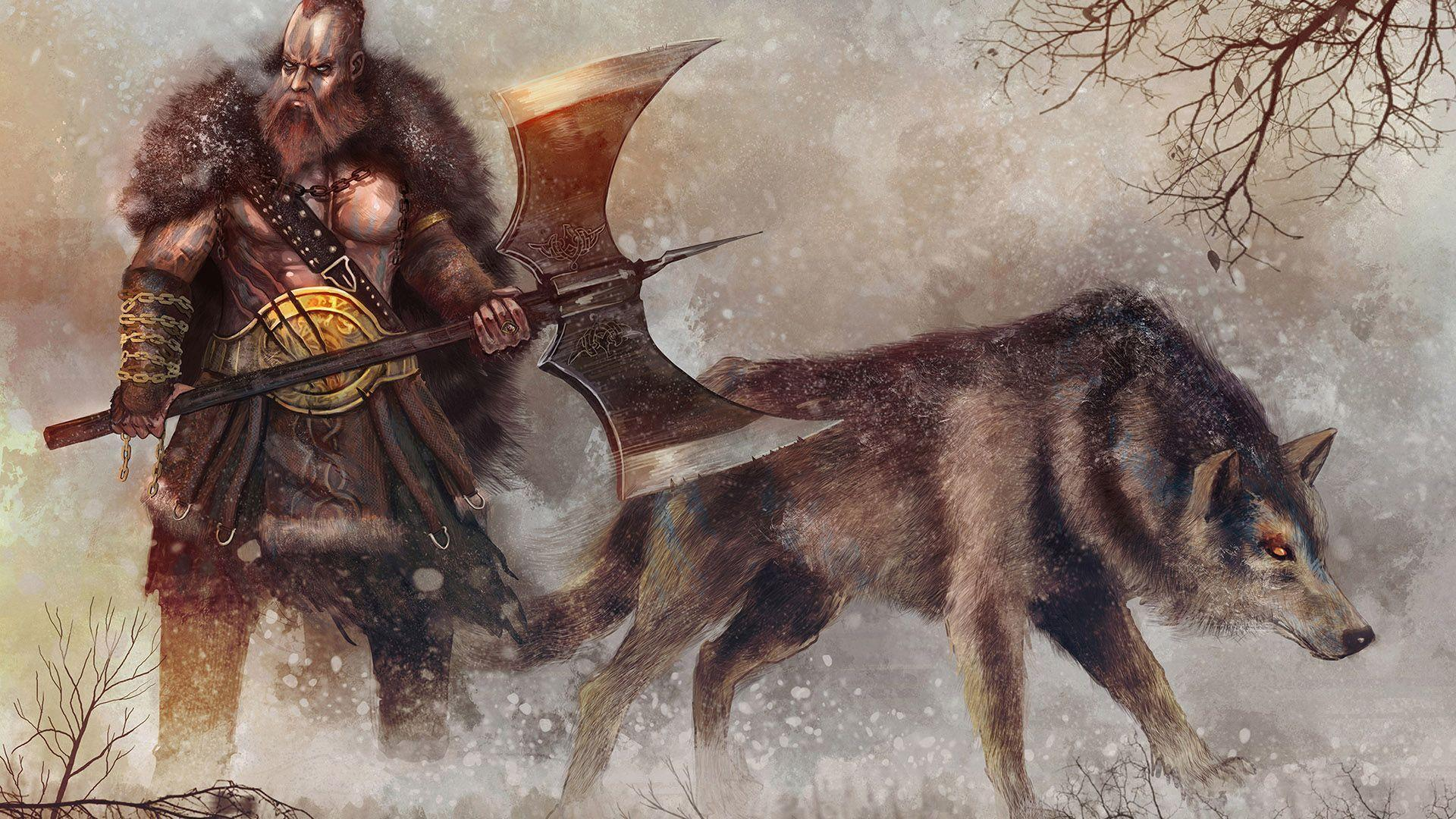HD Warrior And His Wolf In The Snow Wallpaper Download