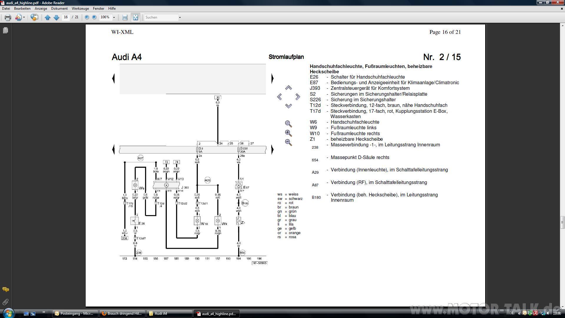 Stromlaufplan Audi A4 8e B6