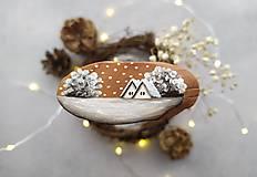 Magnetky - Malovana magnetka drevena - zima - 12415670_