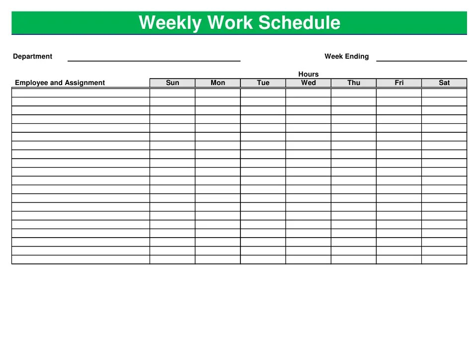 Ensure adequate shift coverage with an employee schedule template. Green Weekly Work Schedule Template Download Printable Pdf Templateroller