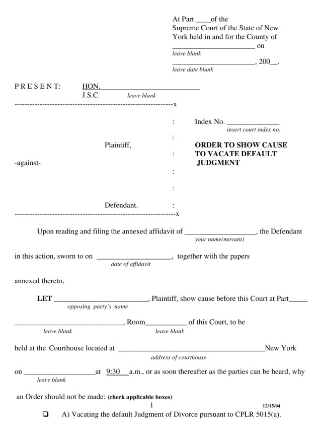 New York Order to Show Cause to Vacate Default Judgment Download