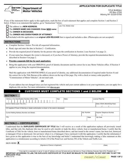 Form MV-902 Download Fillable PDF, Application for ...