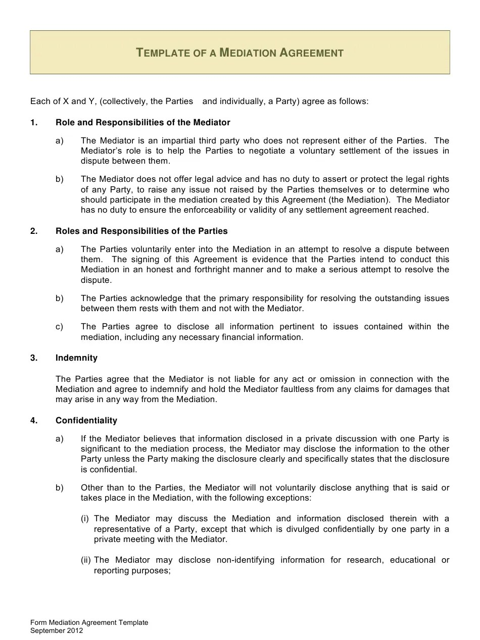 Mediations are being held by phone and video conference in the auckland region. Sample Mediation Agreement Template Download Printable Pdf Templateroller