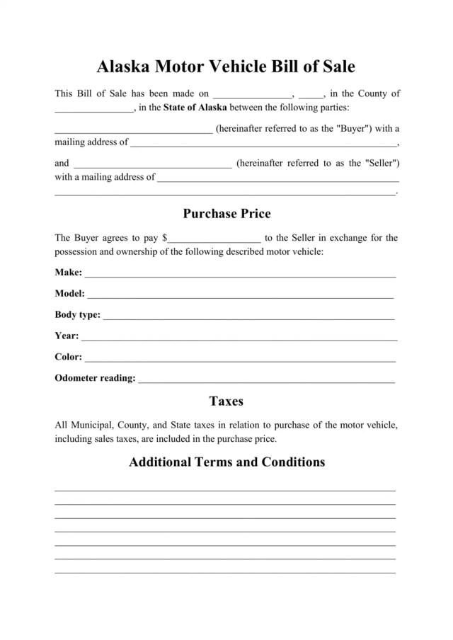 Alaska Motor Vehicle Bill of Sale Download Printable PDF