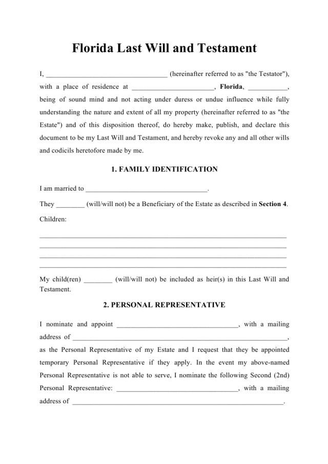 Florida Last Will and Testament Download Printable PDF
