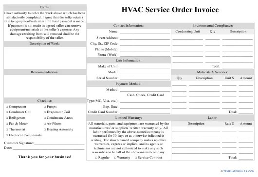 A professional invoice can be created using a word processor in less than half an hour. Hvac Service Order Invoice Template Download Fillable Pdf Templateroller