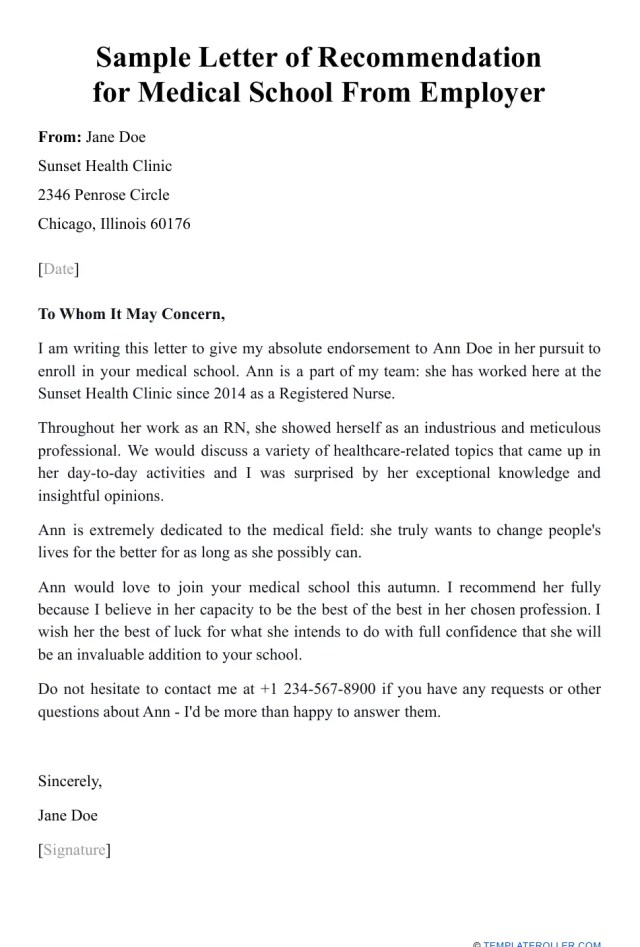 Sample Letter of Recommendation for Medical School From Employer