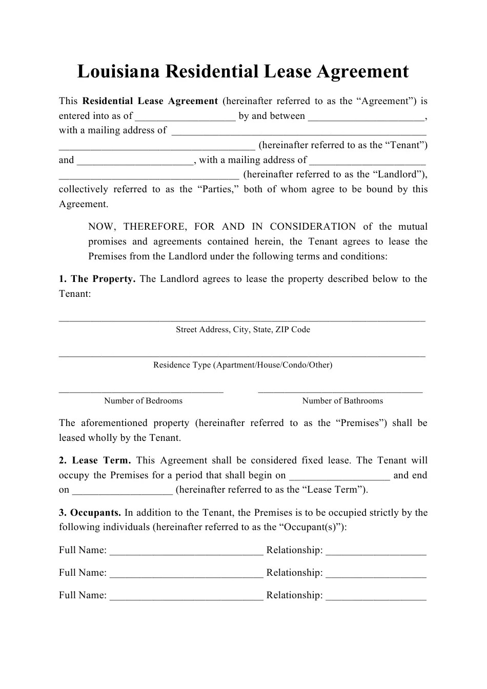 What's the difference between a rental agreement and a lease? Louisiana Residential Lease Agreement Template Download Printable Pdf Templateroller