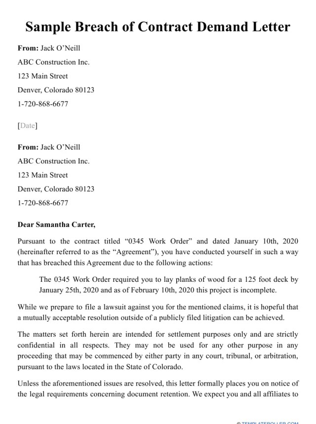 Sample Breach of Contract Demand Letter Download Printable PDF