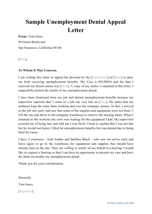 Sample Unemployment Denial Appeal Letter Download Printable PDF